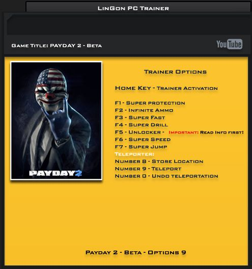 Payday 2 Beta Steam Update 4 +9 Trainer [LinGon]