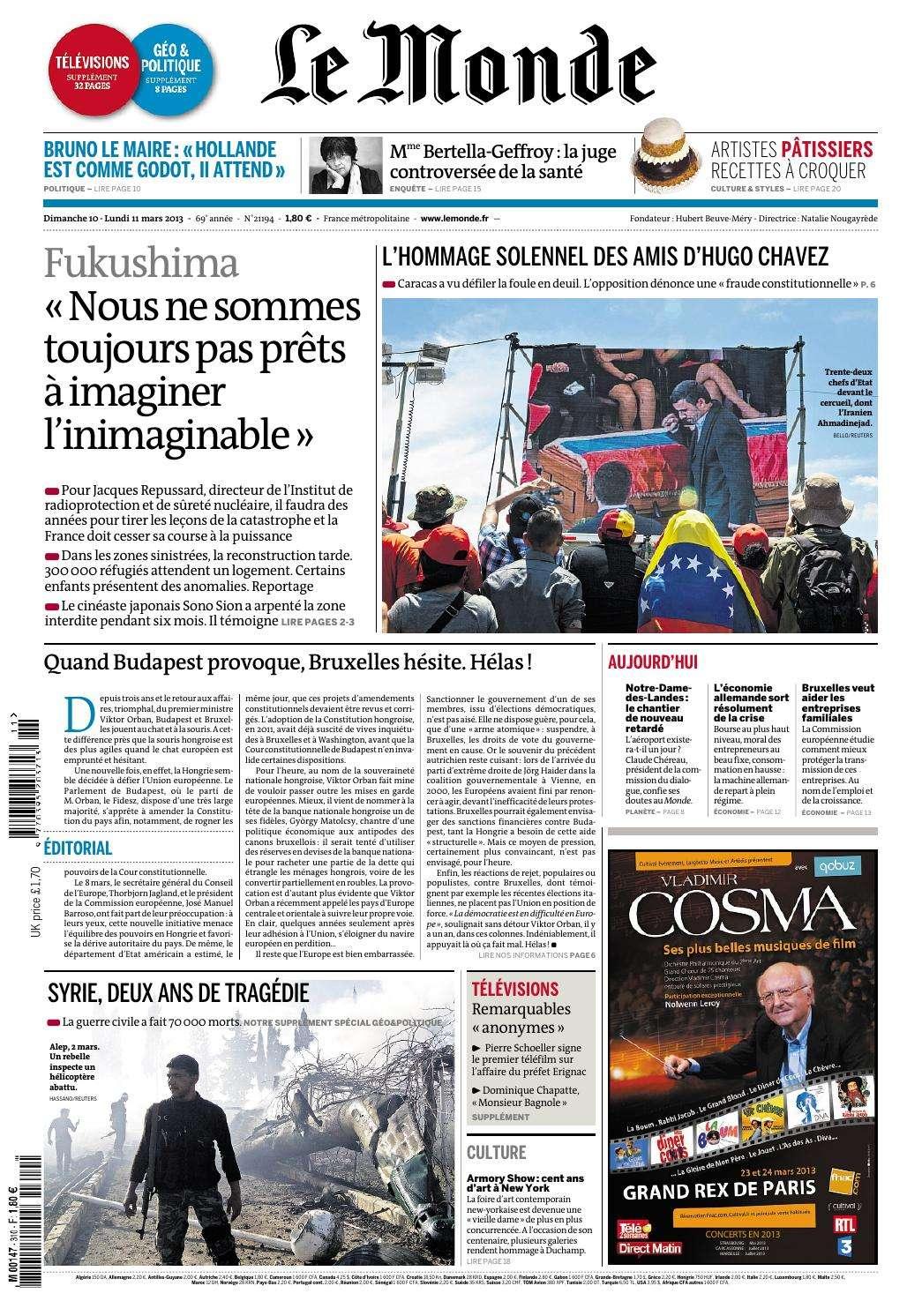 Le Monde et Supplément dimanche 09 et Lundi 10 Mars 2013