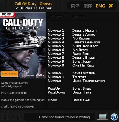 Call of Duty Ghosts v1.0 Trainer +13 [FLiNG]