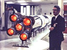 Jesco von Puttkamer stands beside a<br /> model of the Saturn V rocket in this<br /> image taken in 1969. <br /> Image Credit: NASA