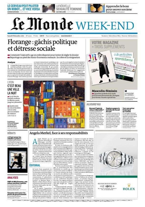 Le Monde et Suppléments du Samedi 08 Décembre 2012