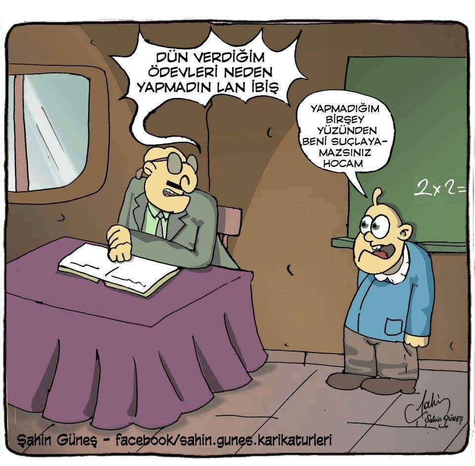 ödev karikatürü